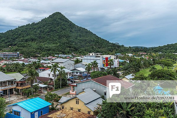 View of Singkawang town from hotel  West Kalimantan  Indonesia.