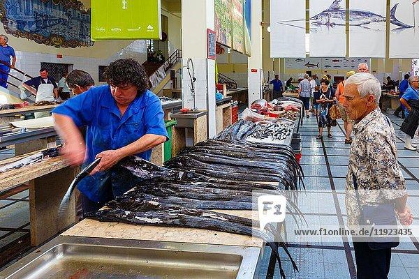 Fish stall. Mercado dos lavradores (Farmers market). Funchal  Madeira  Portugal  Europe.