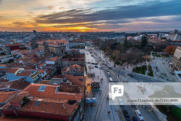 Aerial view from bell tower of Clerigos Church in Porto  second largest city in Portugal.