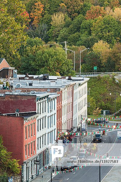 USA  New York  Hudson Valley  Kingston  elevated view of the Rondout Historic District.