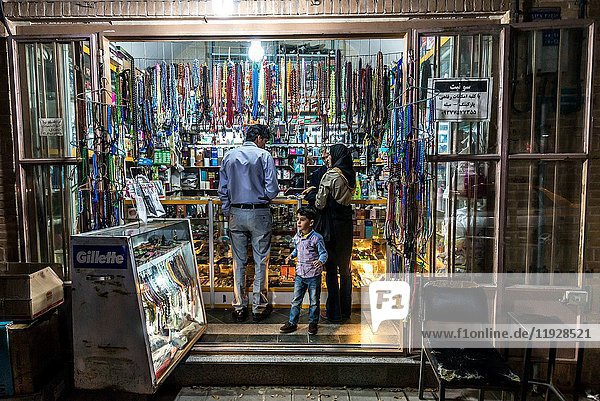 Shop with prayer beads and perfues on Imam street in Yazd  capital of Yazd Province of Iran.