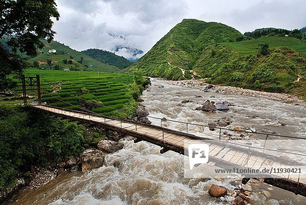 River and rice terraces nearby of Lao Chai village. Trekking Sapa to Lao Chai. Vietnam.