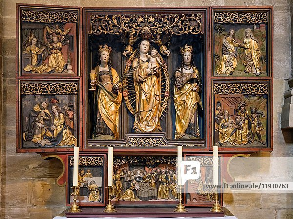 Kirchgattendorfer Altar in the Cathedral St. Peter and St. Georg landmark of Bamberg. Bamberg in Franconia  a part of Bavaria. The Old Town is listed as UNESCO World Heritage 'Altstadt von Bamberg'. Europe  Germany  Bavaria  July.