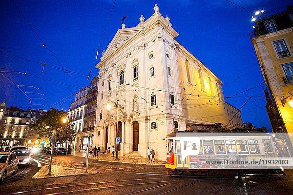 Tram  Church of Our Lady of the Incarnation from Luís Camoes Square  Igreja Da Nossa Senhora Da Encarnação  Praça Luís de Camões  Lisbon  Portugal  Europe.