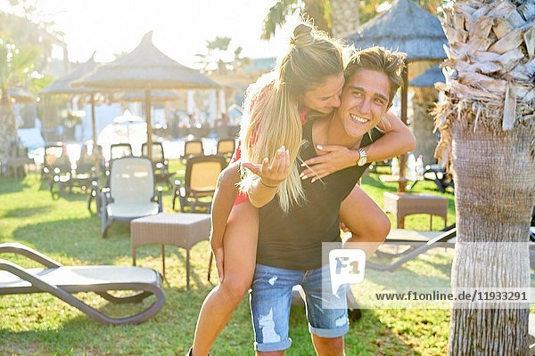 Vibrant young Dutch couple having fun together outdoors in the holiday destination Hersonissos  Crete  Greece