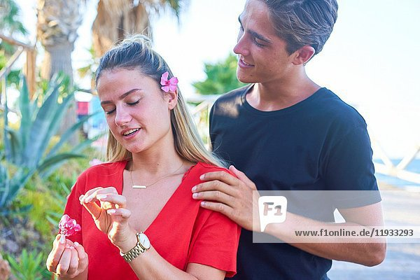 Young Dutch couple together outdoors in the holiday destination Hersonissos  Crete  Greece