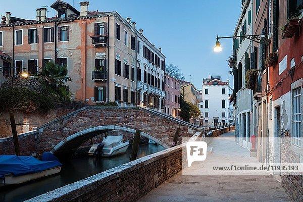 Dusk in Dorsoduro district of Venice  Italy.