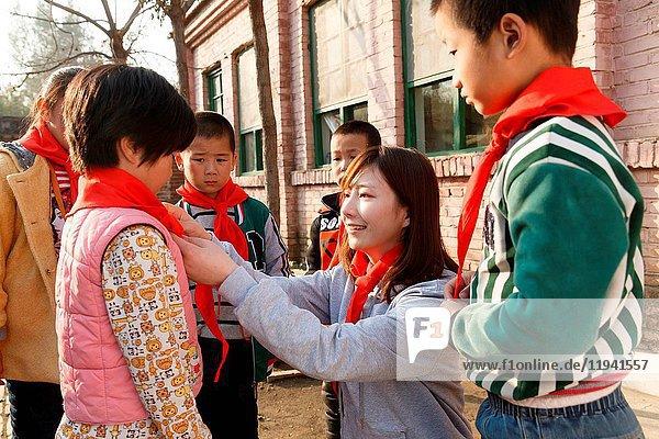 Rural teachers and pupils in school