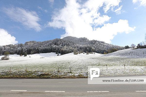 Deutschland  Bayern  Schliersee  Straße im Winter