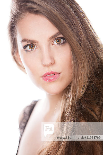 Portrait of attractive brunette young woman