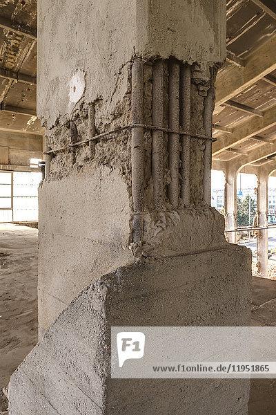 Damaged pillar in an old hall