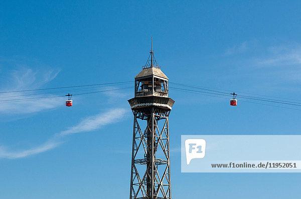 Torre Jaume I  Seilbahnturm  Barcelona  Spanien