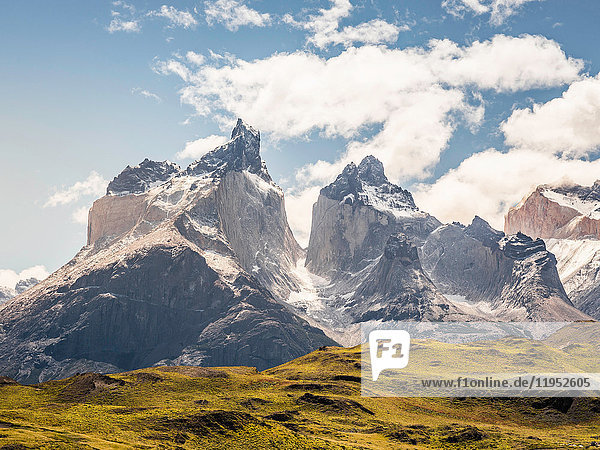 Landscape with snow capped Cuernos del Paine  Torres del Paine National Park  Chile