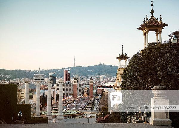 Elevated cityscape view with Plaza de las Cascadas  Barcelona  Spain