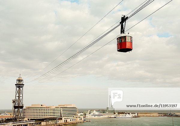 Elevated view of harbour and cable car  Barcelona  Spain