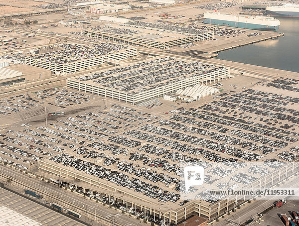 Elevated view of harbour  parking lots and parked cars  Barcelona  Spain