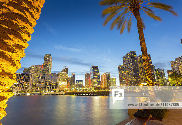 Downtown Miami skyline from Brickell Key at dusk  Downtown Miami  Miami  Florida  United States of America  North America