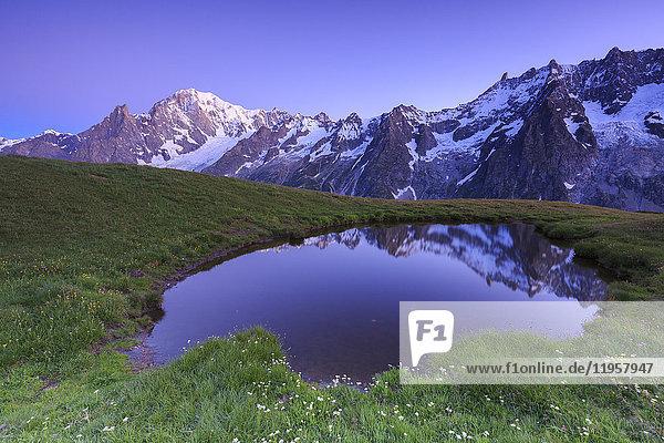 Twilight illuminates Mont Blanc  Mont de la Saxe  Ferret Valley  Courmayeur  Aosta Valley  Italy  Europe