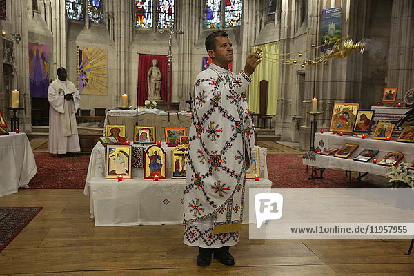 Mass celebrated by Melkite (Greek-Catholic) and Catholic priests in Sainte Foy Church  Conches  Eure  France  Europe