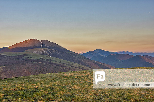 Mount Petrano  sunset on Apennines  Marche  Italy  Europe