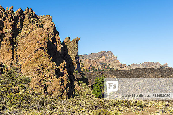 Roques de Garcia Mountainscape  Teide National Park  UNESCO World Heritage Site  Tenerife  Canary Islands  Spain  Europe