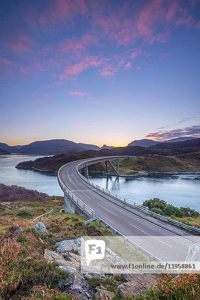 Loch a' Chairn Bhain  Kylesku  Kylesku Bridge  landmark on the North Coast 500 Tourist Route  Sutherland  Highlands  Scotland  United Kingdom  Europe