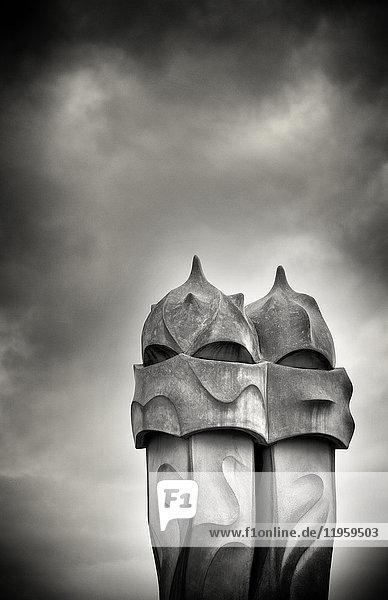 Gaudi chimneys on roof of Casa Mila (La Pedrera)  UNESCO World Heritage Site  Barcelona  Catalonia  Spain  Europe