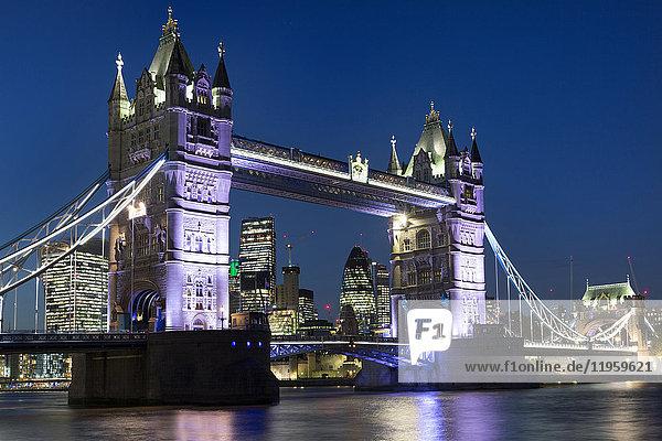 Tower Bridge illuminated at night  London  England  United Kingdom  Europe