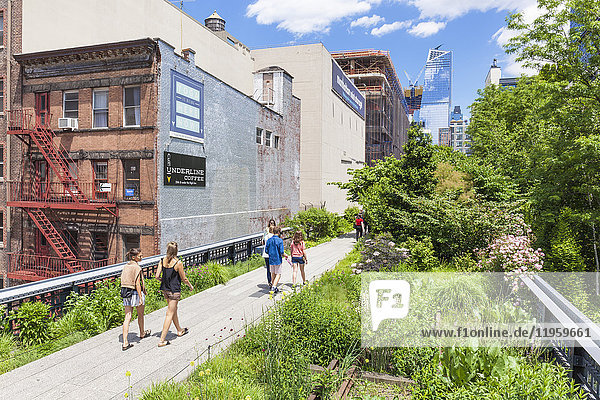 Lower Manhattan tourist attraction  The High Line  urban park  an elevated disused rail line  New York City  United States of America  North America