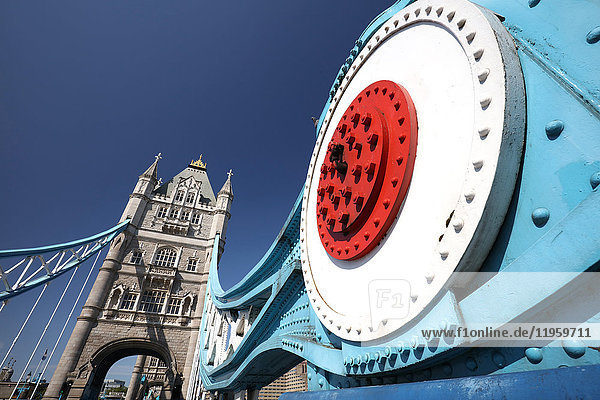 Wide angle view of Tower Bridge against blue sky  London  England  United Kingdom  Europe