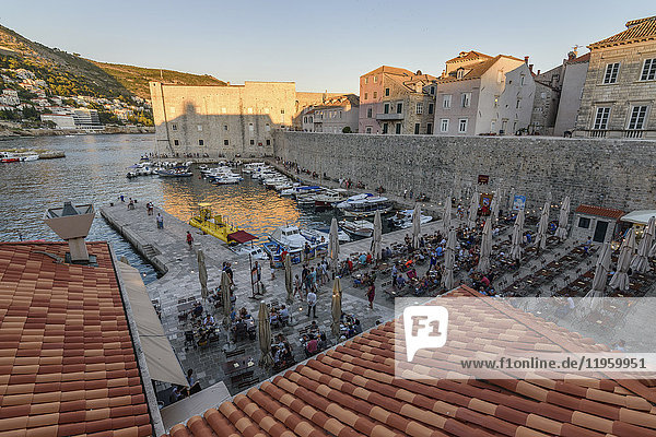 View across the rooftops towards harbour in the old town of Dubrovnik.