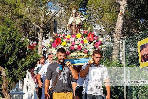 Sailor's procession of the Virgen del Carmen  Portinatx  Ibiza  Balearic Islands  Spain.