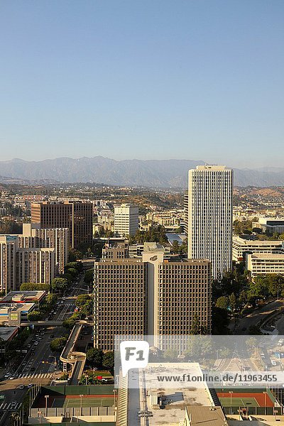 A view from the BonaVista Lounge in the Westin Bonaventure Hotel of Bunker HIll Towers and other structures in Downtown Los Angeles  California  United States.