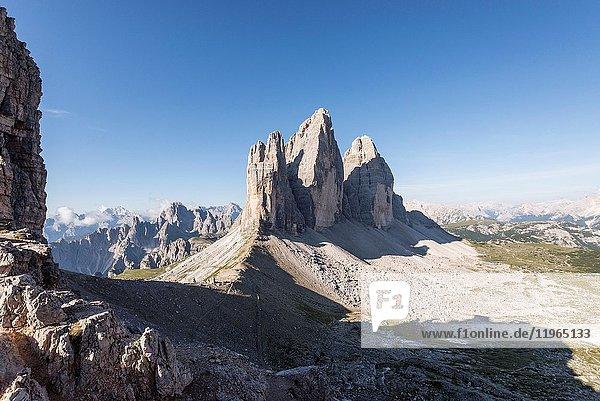 Sesto/Sexten  Dolomites  South Tyrol  province of Bolzano  Italy. The Tre Cime di Lavaredo/Drei Zinnen sen from Forcella Passaporto.