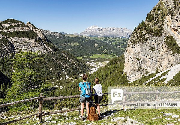 View of the Sella Group from Col de Locia San Cassiano Bolzano district South Tyrol Italy.