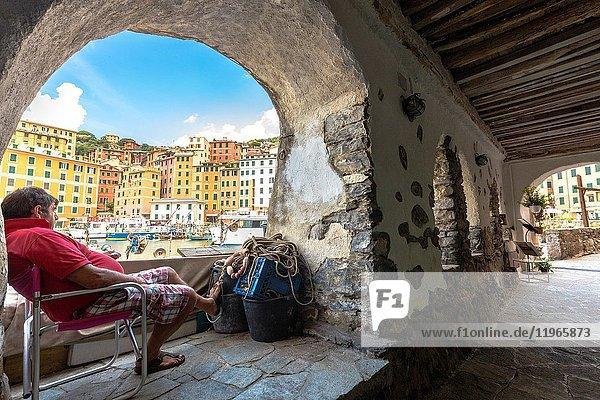 Sea port of Camogli village  Genova district  Liguria  Italy.