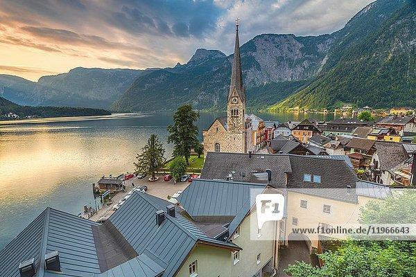 The austrian village of Hallstatt and the lake  Upper Austria  Salzkammergut region  Austria.
