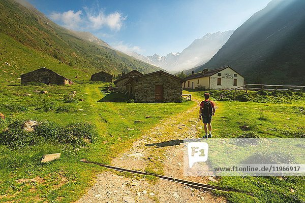 Trekking in Val Grande  Vezza d'Oglio  Stelvio National park  Brescia province  Italy  Europe.