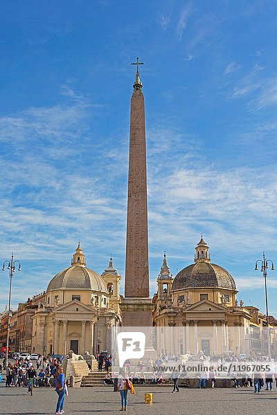 Rome  Italy. Piazza del Popolo with Egyptian obelisk and twin churches of Santa Maria di Montesanto on the left and Santa Maria dei Miracoli on the right. The historic centre of Rome is a UNESCO World Heritage Site.