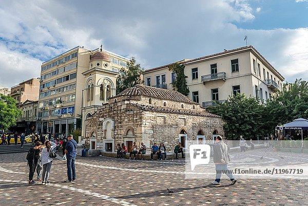 Monastiraki Square in Athens city  Greece. View with Church of the Pantanassa (aslo called Dormition of the Theotokos church).