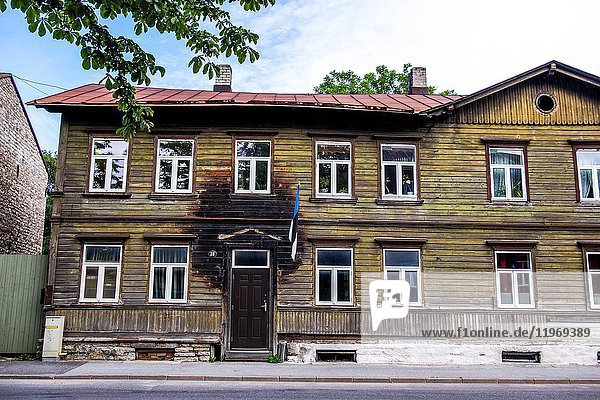 Traditional wooden houses in the Kalamaja neighborhood of Tallinn  Estonia.