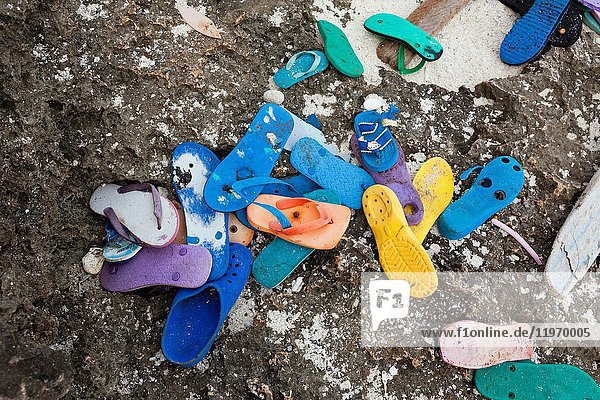 Plastic Waste washed up at shore,  Christmas Island,  Australia.