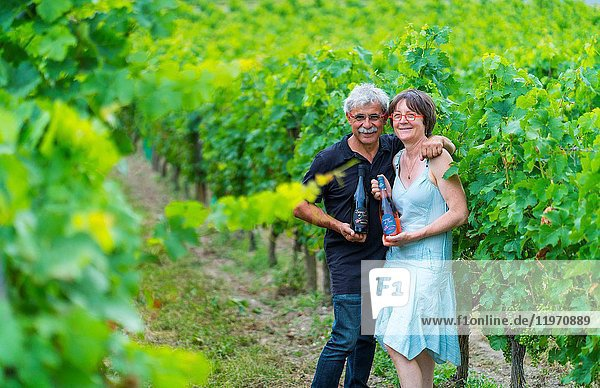 Odile and Jean-Max Manceau owners  Domaine de Noiré winegrower  Ecological wine  Chinon  Indre-et-Loire Department  The Loire Valley  France  Europe.