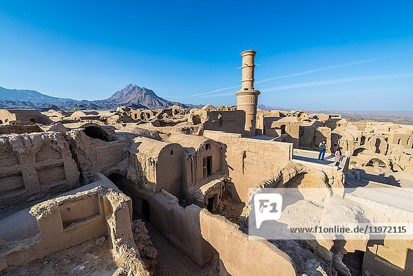 Aerial view of old  abandoned part of Kharanaq village in Ardakan County  Yazd Province  Iran.