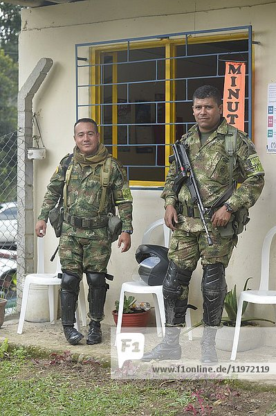 Two military in Colombia  South America.