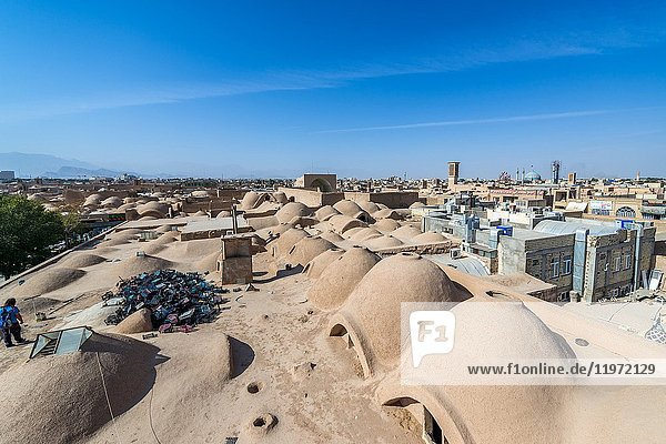 Aerial view of rooftops of bazaar in Yazd  capital of Yazd Province of Iran.