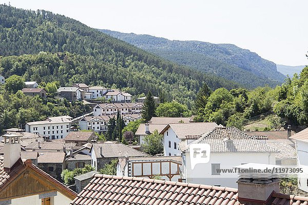 Old architecture in Roncal village Roncal valley in Navarre Spain.