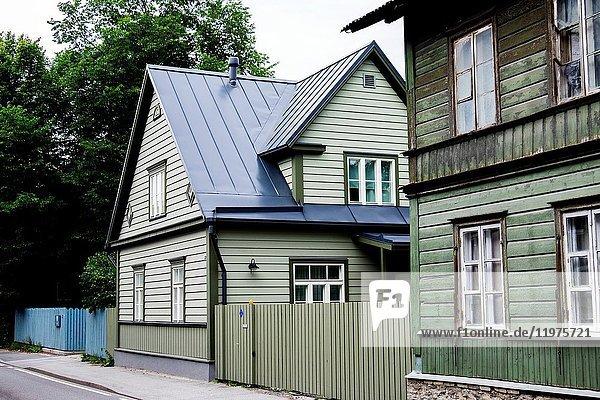 Traditional houses of the Kalamaja area in Tallinn  Estonia  Europe.