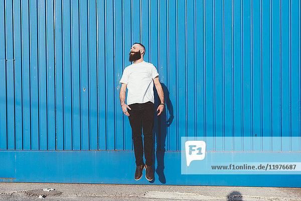 Bärtiger Mann vor blauer Wand springt in die Luft