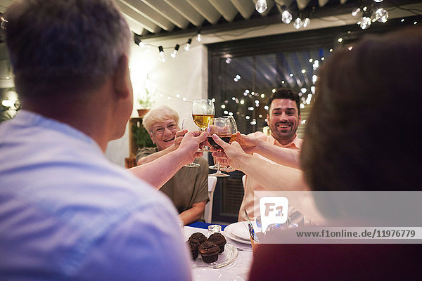 Group of people sitting at table  holding wine glasses  making a toast